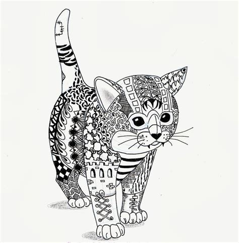 Cat Zentangle Coloring Page | efie goes zentangle kitten van ben kwok graphic arts