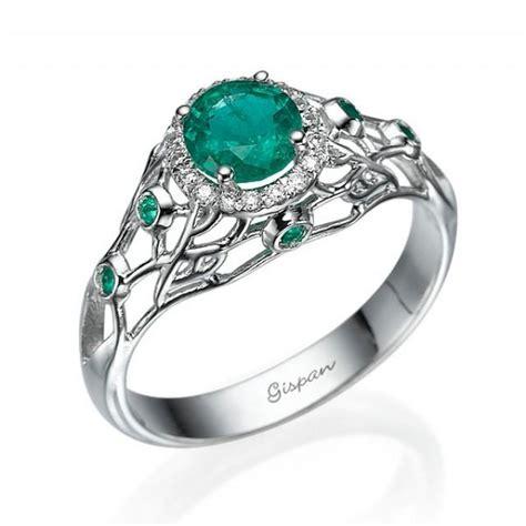 emerald engagement ring 14k white gold filigree design