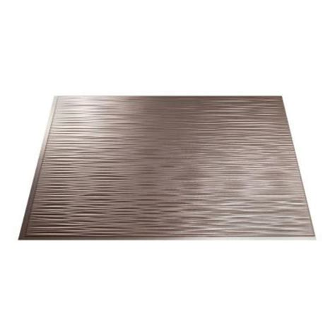 brushed nickel backsplash fasade 18 in x 24 in ripples pvc decorative tile