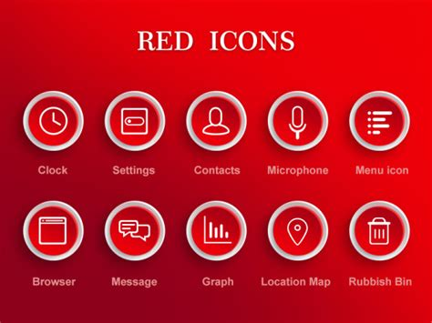creative red icons psd material icons psd file web