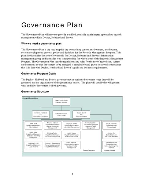 Sle Records Governance Plan The Sle Records Management Governance Plan Is A Filled In Information Governance Policy Template