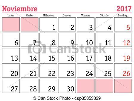 Calendario Noviembre 2017 Chile Vectores De Pared 2017 Noviembre Calendario Espa 241 Ol