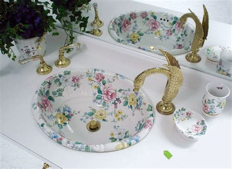 painted bathroom sinks painted bathroom sinks with floral design home design