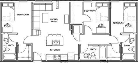 3 bedroom apartment floor plan floor plans the callaway house student apartments