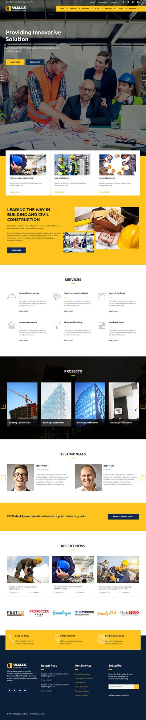 Best Adobe Muse Architecture Themes 2017 Responsive Miracle Muse Templates Responsive