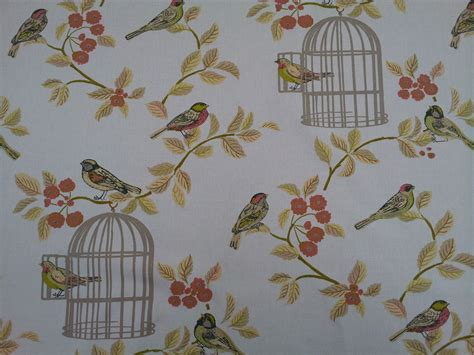 upholstery fabric birds vintage song bird bird cage terracotta designer curtain