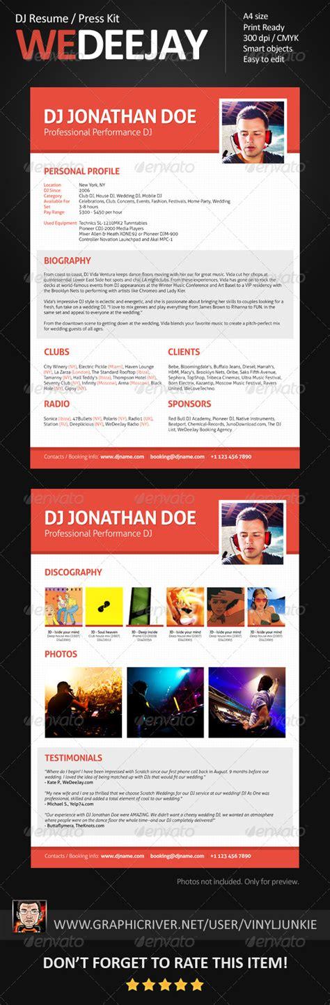 Wedeejay Dj Resume Press Kit Graphicriver Dj Resume Template