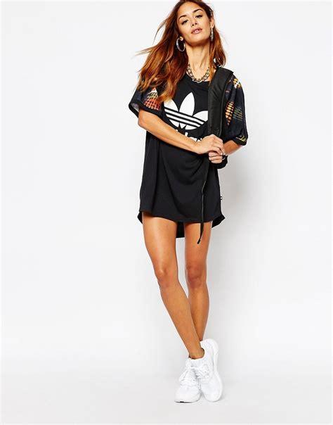 Dress Hodie Adidas adidas adidas originals ora cut out t shirt dress with trefoil logo in multi print at asos