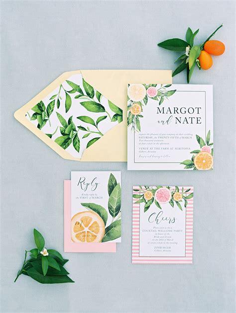 citrus themed wedding invitations orchard wedding inspiration at agritopia scottsdal with rustic blush wedding invitations