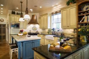 Distressed Kitchen Islands french country kitchen yellow blue interior amp exterior doors
