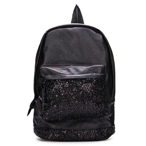 Sequined Bag buy black sequined decorated travel backpack