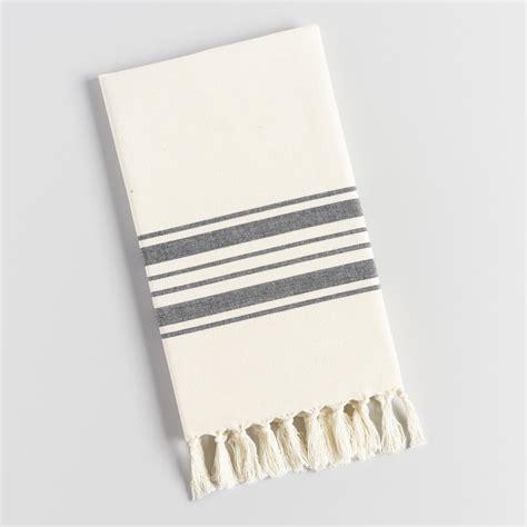 kitchen towels black villa stripe kitchen towel world market