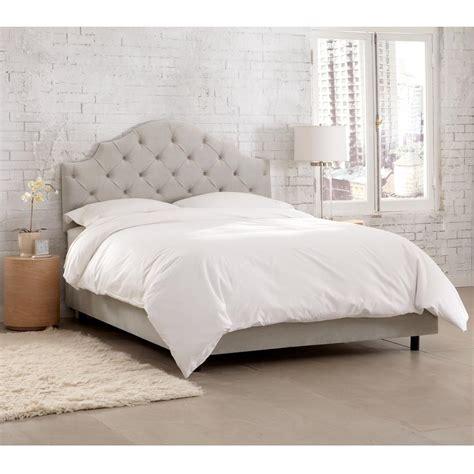 tufted twin bed velvet light grey twin tufted notched bed 630bedvlvlghgr