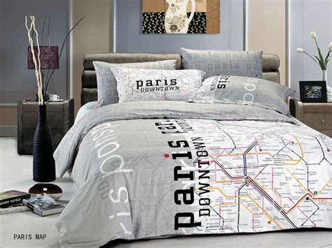bedroom covers paris map by le vele 4pc twin duvet cover set modern