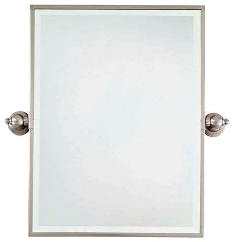 Bathroom Mirror Brushed Nickel | minka 24 quot high rectangle brushed nickel bathroom wall