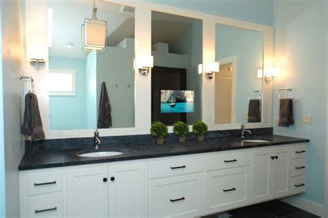 tv behind bathroom mirror s 233 ura vanishing vanity tv mirror bathroom by seura