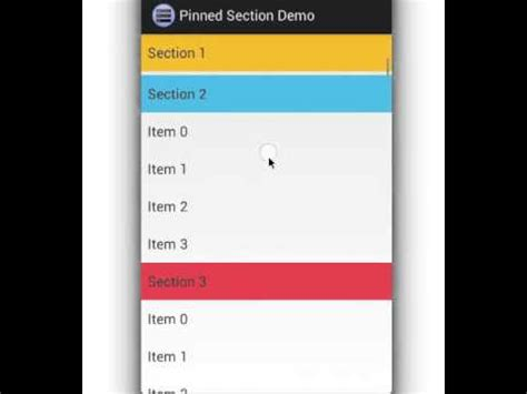 android listview with section pinned section in android listview youtube