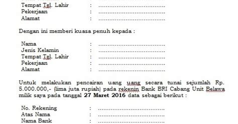 contoh surat kuasa pencairan di bank dalam bentuk file word