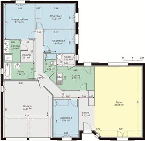 plan maison en l 4 chambres maison plain pied 4 chambres plan menuiserie