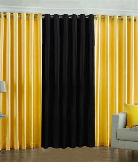 pindia set of 3pc plain eyelet door curtains yellow black buy pindia set of 3pc plain