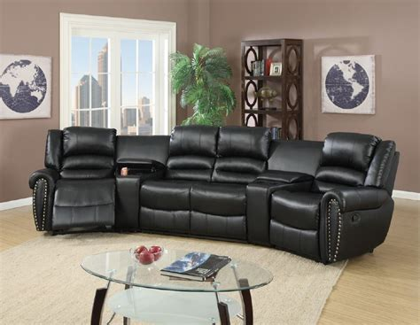 full reclining home theater sectional sofa set console reclining sectional console black leather poundex f6747