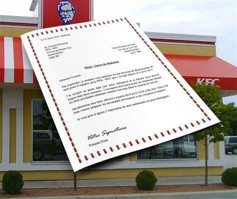 Exemple Lettre De D Mission Kfc exemple lettre de d 233 mission montreal covering letter exle