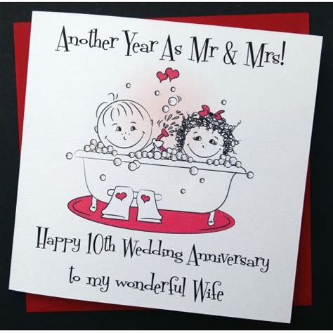 10th Wedding Anniversary Card Husband by Handmade Wedding Anniversary Card