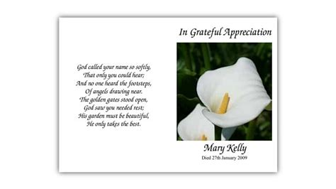 Funeral Acknowledgement Cards Template by Acknowledgement Cards 187 Hassan Funeral Director
