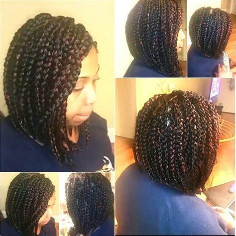chunky box braids chunky thick box braids into a bob hairstyle do that