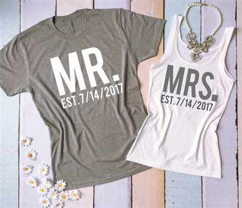 Married Shirt Design Mr And Mrs Shirt And Tank Top Set Honeymoon Shirts Just