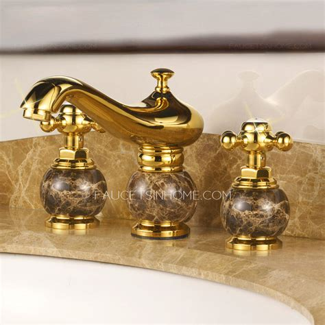 gold bathroom sink faucets antique gold marble handle three hole bathroom sink faucet