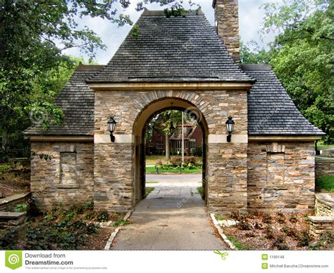 stone gatehouse stock photo image  shingles arch