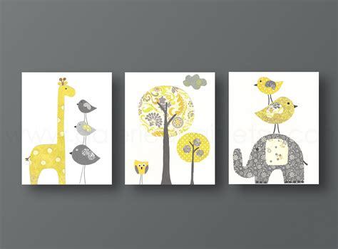 Yellow Gray Nursery Art Baby Nursery Decor Kids Wall Art Baby Etsy Nursery Decor