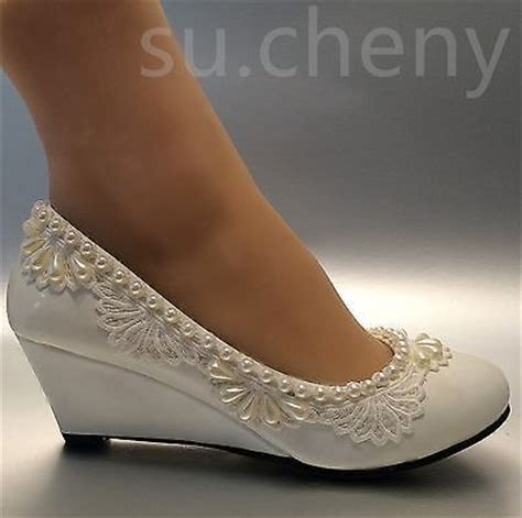 details about 2 heel wedges lace white light ivory pearl