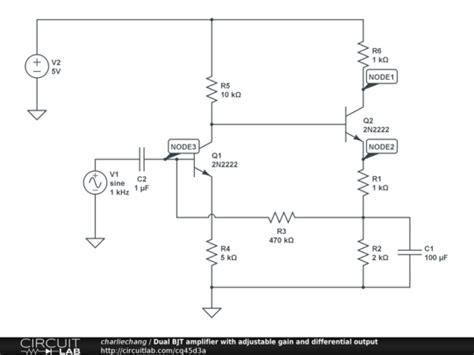 differential transistor lifier gain dual bjt lifier with adjustable gain and differential output circuitlab