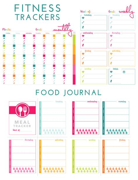 Printable Fitness Trackers And Food Journal The Homes I Have Made Fitness Tracker Template