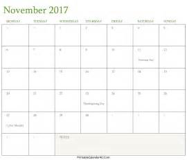 Calendar November 2017 Thanksgiving November 2017 Calendar Thanksgiving Day Calendar Template