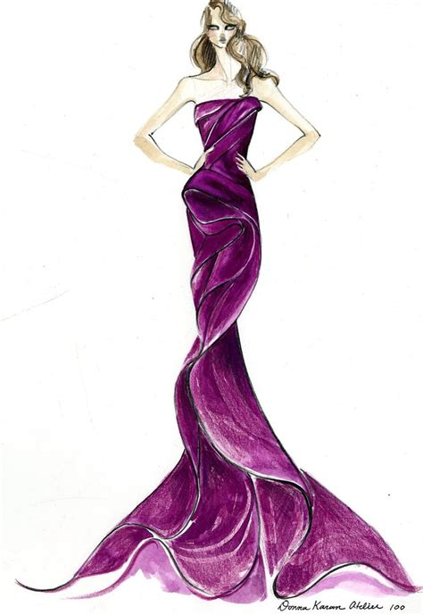 fashion illustration gown the vision before the gown donna karan atelier for emmy