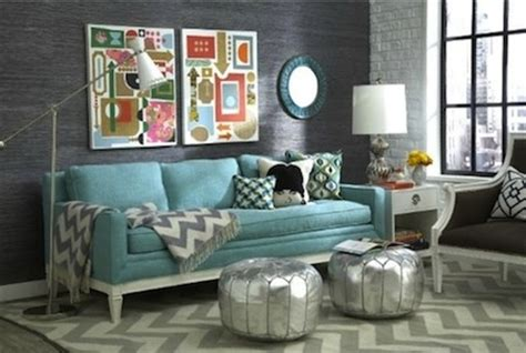 Gray Living Room With Turquoise Accents Grey Accent Wall And Accessories With Turquoise