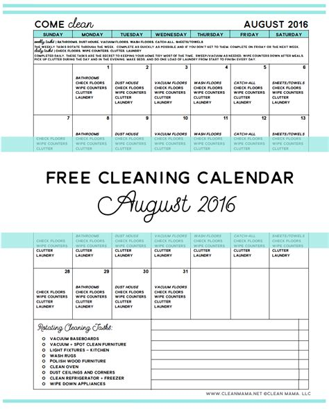Cleaning Calendar Come Clean Free Cleaning Calendar For August 2016