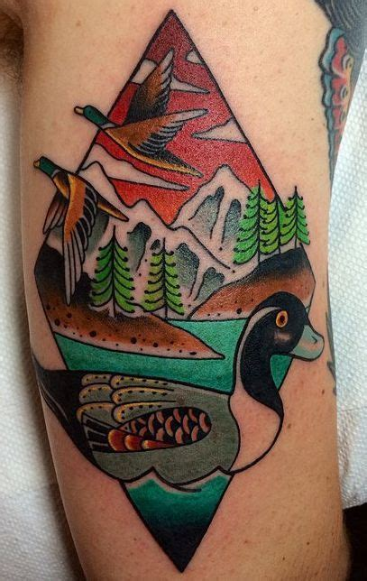 wood duck tattoo oldschool duck damn traditional inks