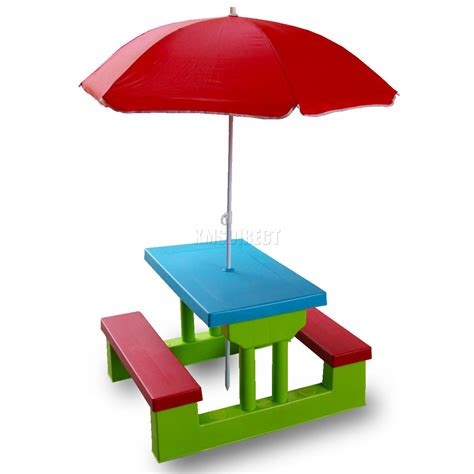 table parasol kid child picnic garden green bench set parasol blue table 4 children seater ebay