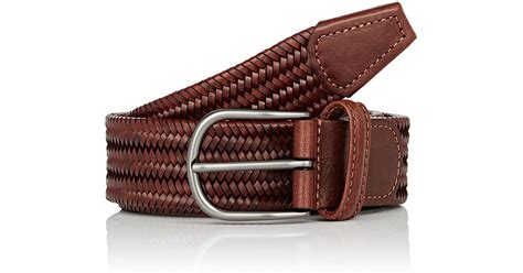 barneys new york braided leather belt in brown for lyst