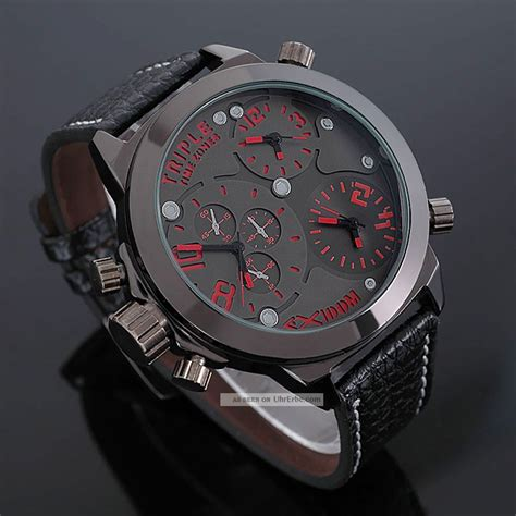 Herren Uhren by Zeiger Massiv Rot 3 Zeitzonen Herrenuhr Herren Uhr