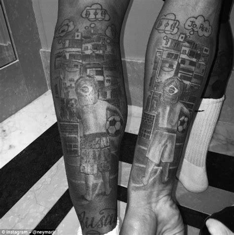 brazil jesus tattoo neymar and gabriel jesus show off matching tattoos ahead