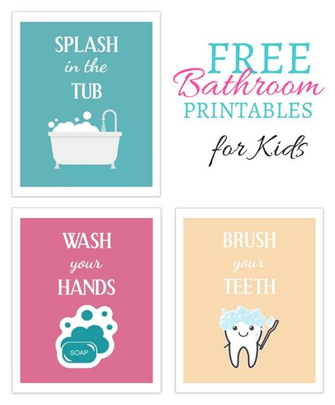 free kids bathroom printables download this set of 3 free printables for your kids