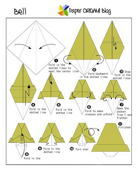 How To Make A Paper Bell - origami bell paper origami guide
