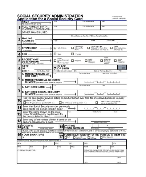 social security form sle social security application form 8 exles in pdf