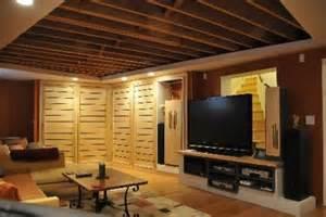 Simple 60 Dark Hardwood felice basement ideas exposed joist ceiling jpg