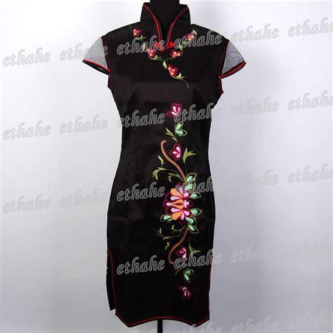 Id Pink Shoulder Cheongsam Dress tradition mini dress cheongsam black